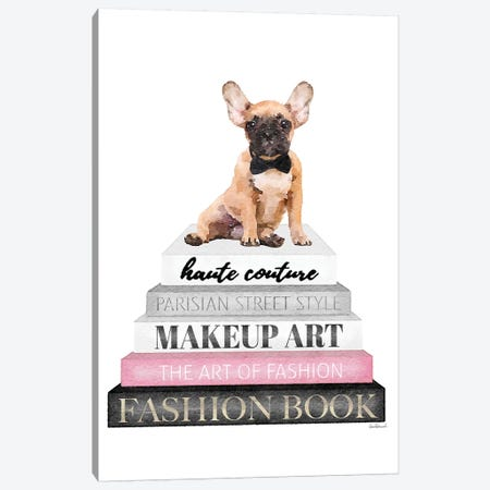 Grey Books With Pink, Fawn Frenchie 3-Piece Canvas #GRE315} by Amanda Greenwood Canvas Artwork