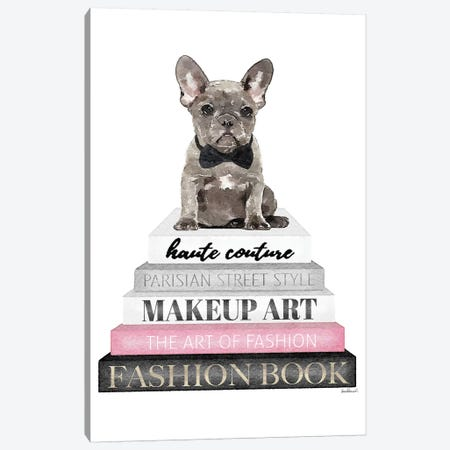Grey Books With Pink, Grey Frenchie, Bowtie Canvas Print #GRE317} by Amanda Greenwood Canvas Artwork