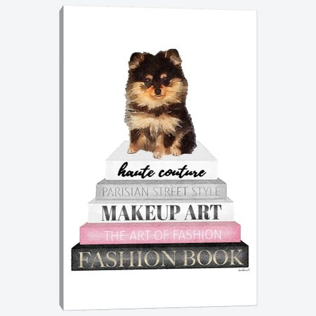 Grey Books With Pink, Pomeranian 3-Piece Canvas #GRE318} by Amanda Greenwood Canvas Art Print