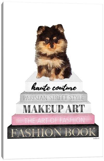 Grey Books With Pink, Pomeranian Canvas Art Print