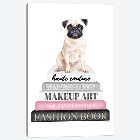 Grey Books With Pink, Pug Canvas Print #GRE319} by Amanda Greenwood Canvas Print