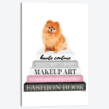 Grey Books With Pink, Red Pomeranian Canvas Print #GRE321} by Amanda Greenwood Canvas Art