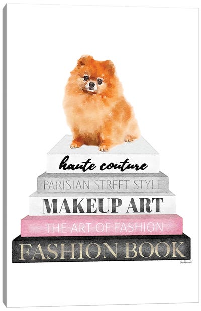 Grey Books With Pink, Red Pomeranian Canvas Art Print