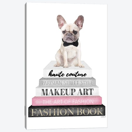 Grey Books With Pink, White Frenchie Canvas Print #GRE322} by Amanda Greenwood Canvas Art
