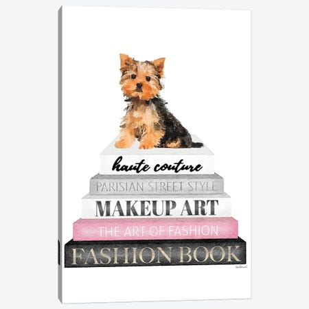 Grey Books With Pink, Yorkie Canvas Print #GRE323} by Amanda Greenwood Canvas Art