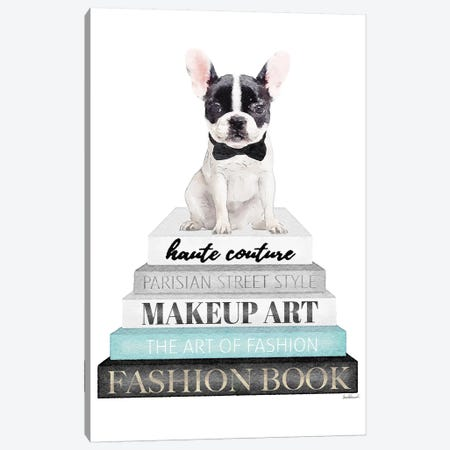 Grey Books With Teal, B&W Frenchie Canvas Print #GRE324} by Amanda Greenwood Canvas Art Print