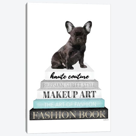 Grey Books With Teal, Blk Frenchie Canvas Print #GRE325} by Amanda Greenwood Art Print
