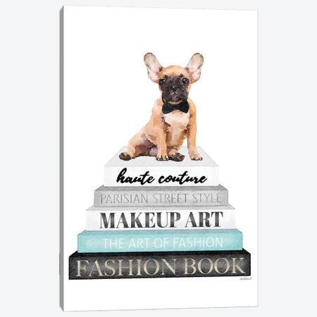 Grey Books With Teal, Fawn Frenchie Canvas Print #GRE327} by Amanda Greenwood Canvas Art Print