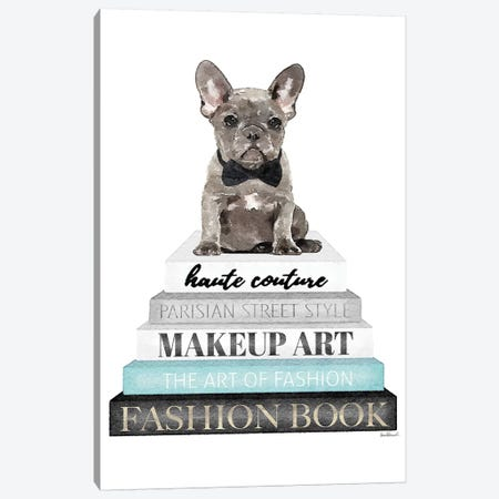 Grey Books With Teal, Grey Frenchie Canvas Print #GRE328} by Amanda Greenwood Canvas Wall Art