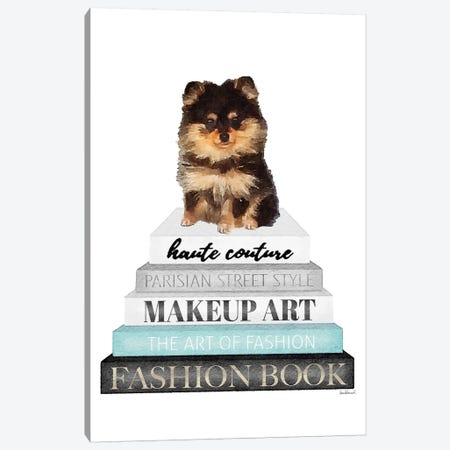 Grey Books With Teal, Pomeranian Canvas Print #GRE329} by Amanda Greenwood Canvas Art