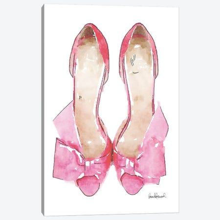 Light Pink Bowed Shoes Canvas Print #GRE32} by Amanda Greenwood Art Print