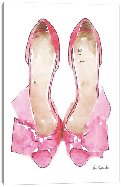 Light Pink Bowed Shoes Canvas Print #GRE32