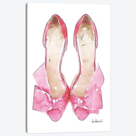 Light Pink Bowed Shoes Canvas Print #GRE32} by Amanda Greenwood Art Print