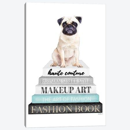 Grey Books With Teal, Pug Canvas Print #GRE330} by Amanda Greenwood Art Print