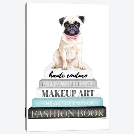 Grey Books With Teal, Pug With Bow Canvas Print #GRE331} by Amanda Greenwood Art Print