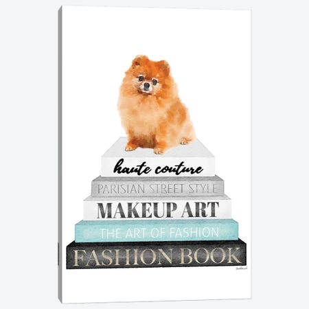 Grey Books With Teal, Red Pomeranian Canvas Print #GRE332} by Amanda Greenwood Art Print