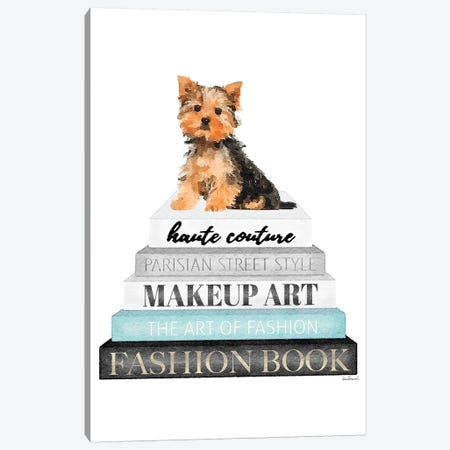 Grey Books With Teal, Yorkie Canvas Print #GRE334} by Amanda Greenwood Canvas Art