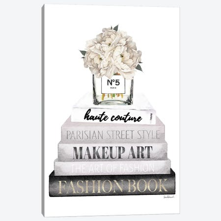 Grey Books With White Peony Vase Canvas Print #GRE335} by Amanda Greenwood Canvas Art