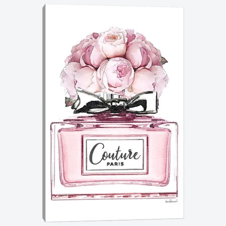Short Perfume, Pink With Roses Canvas Print #GRE336} by Amanda Greenwood Canvas Artwork