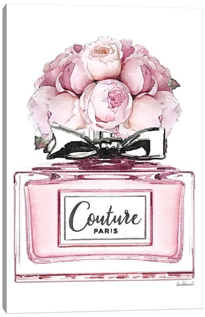 Short Perfume, Pink With Roses Canvas Art Print