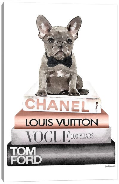 New Books Grey Rose Gold With Grey Frenchie Canvas Art Print