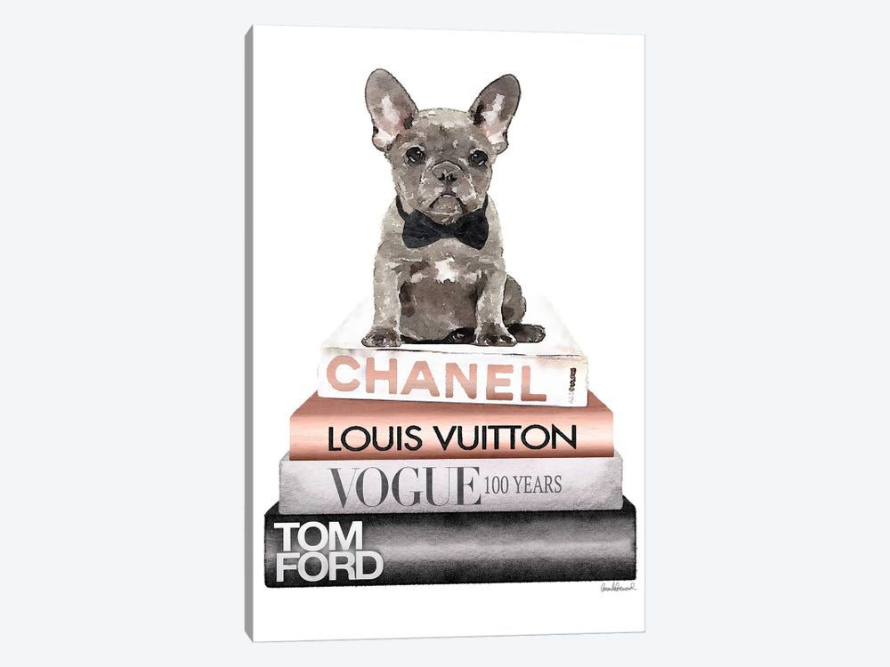 New Books Grey Rose Gold With Grey Frenchie by Amanda Greenwood 1-piece Art Print