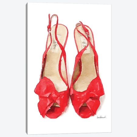 Red Heels With Bow Front View Canvas Print #GRE344} by Amanda Greenwood Art Print
