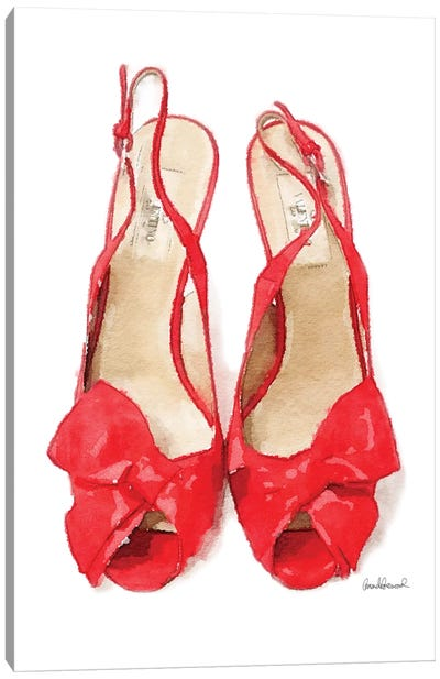 Red Heels With Bow Front View Canvas Art Print