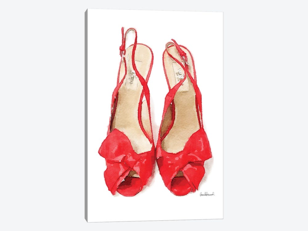 Red Heels With Bow Front View by Amanda Greenwood 1-piece Art Print
