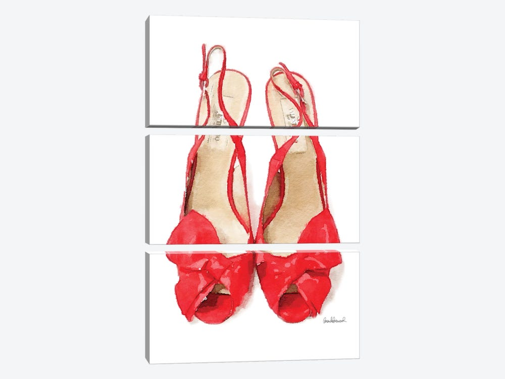 Red Heels With Bow Front View by Amanda Greenwood 3-piece Art Print