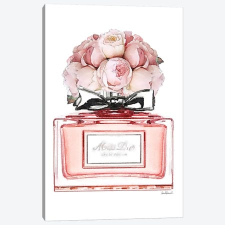 Short Perfume, Peach With Roses 3-Piece Canvas #GRE345} by Amanda Greenwood Canvas Print