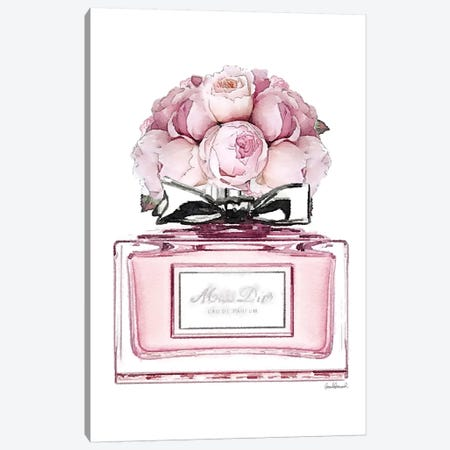 Short Perfume, Pink With Roses Canvas Print #GRE346} by Amanda Greenwood Art Print