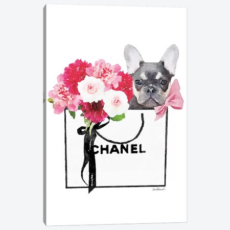 Small White Shopper, Flowers & Blue Tan Frenchie Canvas Print #GRE347} by Amanda Greenwood Canvas Print