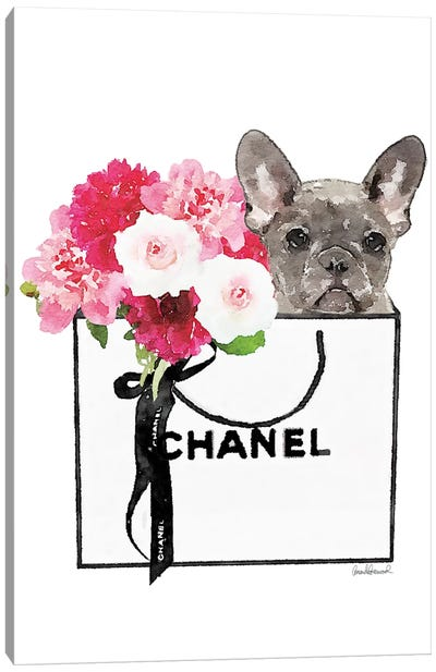 Small White Shopper, Flowers & Grey Frenchie Canvas Art Print