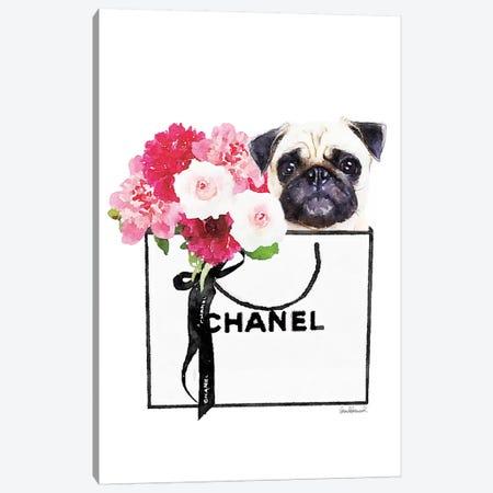 Small White Shopper, Flowers & Pug Canvas Print #GRE350} by Amanda Greenwood Canvas Print