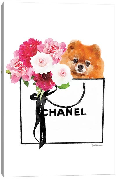 Small White Shopper, Flowers & Red Pomeranian Canvas Art Print