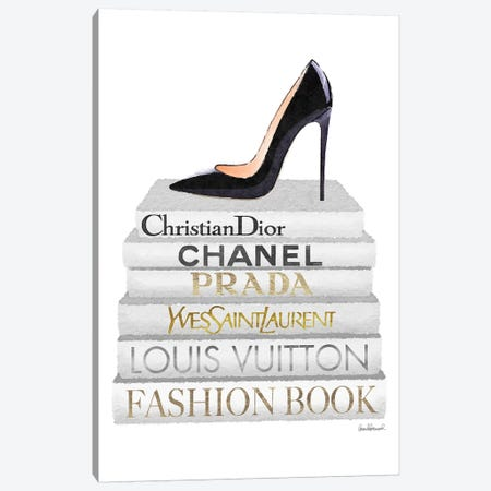 White Books With Black Heel Canvas Print #GRE354} by Amanda Greenwood Canvas Art