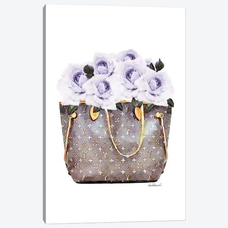 Brown Bag Filled With Purple Roses Canvas Print #GRE357} by Amanda Greenwood Canvas Wall Art