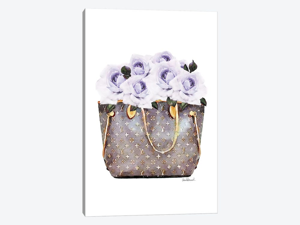 Brown Bag Filled With Purple Roses by Amanda Greenwood 1-piece Canvas Art Print