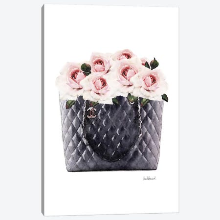 Black Tote Filled With Pink Roses Canvas Print #GRE358} by Amanda Greenwood Canvas Art Print