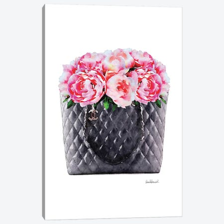 Black Tote Filled With Pink Peony Canvas Print #GRE359} by Amanda Greenwood Canvas Print