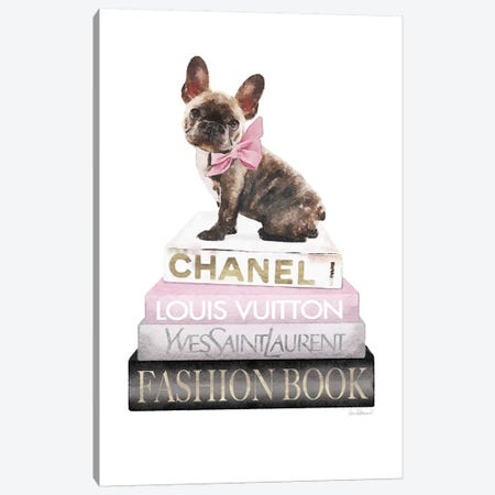 Grey And Blush Books With Brindle Frenchie Canvas Print #GRE365} by Amanda Greenwood Art Print