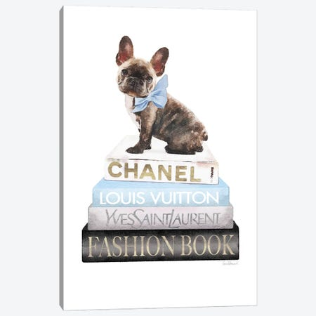 Grey And Blue Books With Brindle Frenchie Canvas Print #GRE366} by Amanda Greenwood Art Print