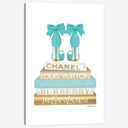 Gold And Teal Bookstack With Bow Shoes Canvas Print #GRE370} by Amanda Greenwood Art Print