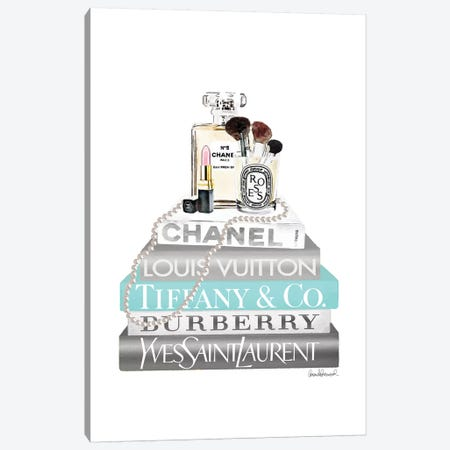 Silver And Teal Bookstack With Pearls And Perfume 3-Piece Canvas #GRE371} by Amanda Greenwood Art Print