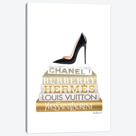 Gold Bookstack With Black Heel 3-Piece Canvas #GRE373} by Amanda Greenwood Art Print
