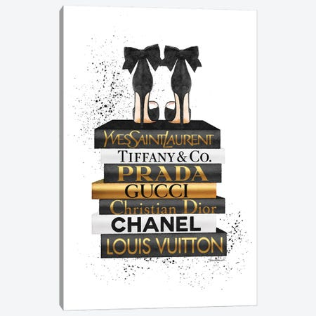 Gold And Black Bookstack With Black Heel and Ink Canvas Print #GRE375} by Amanda Greenwood Canvas Artwork