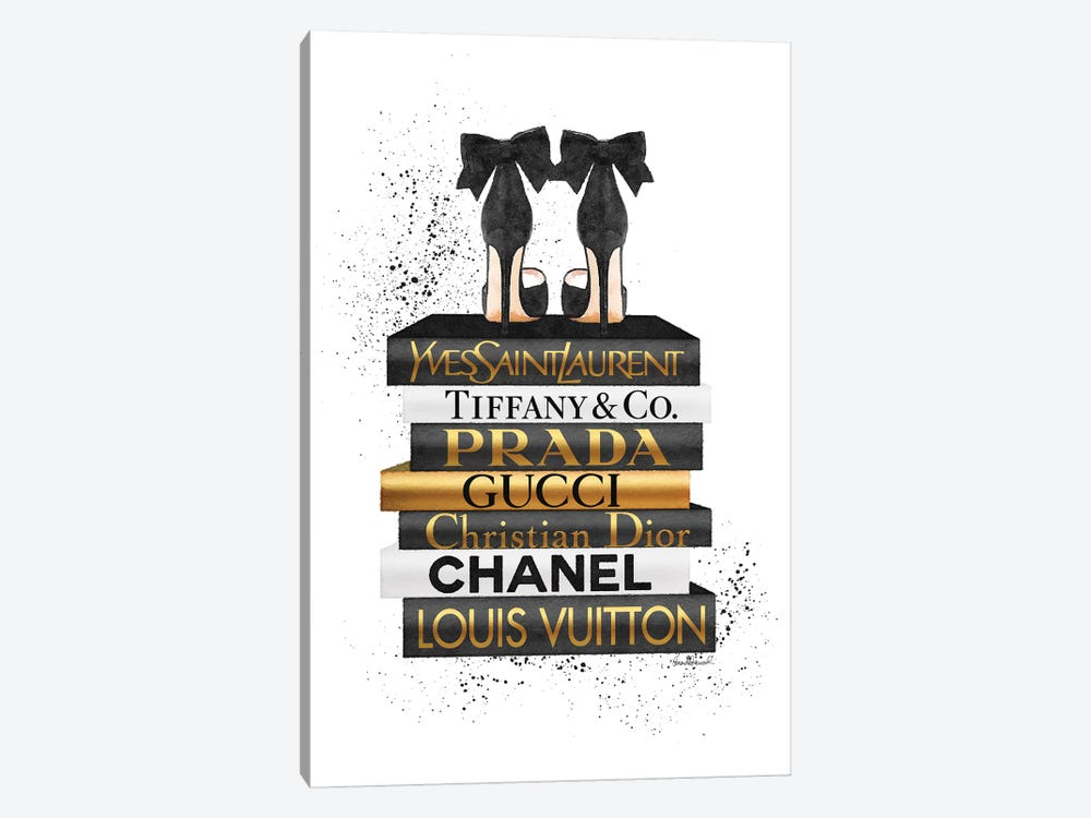 Gold And Black Bookstack With Black Heel and Ink by Amanda Greenwood 1-piece Art Print