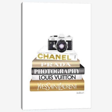 Gold Bookstack With Camera Canvas Print #GRE377} by Amanda Greenwood Canvas Artwork