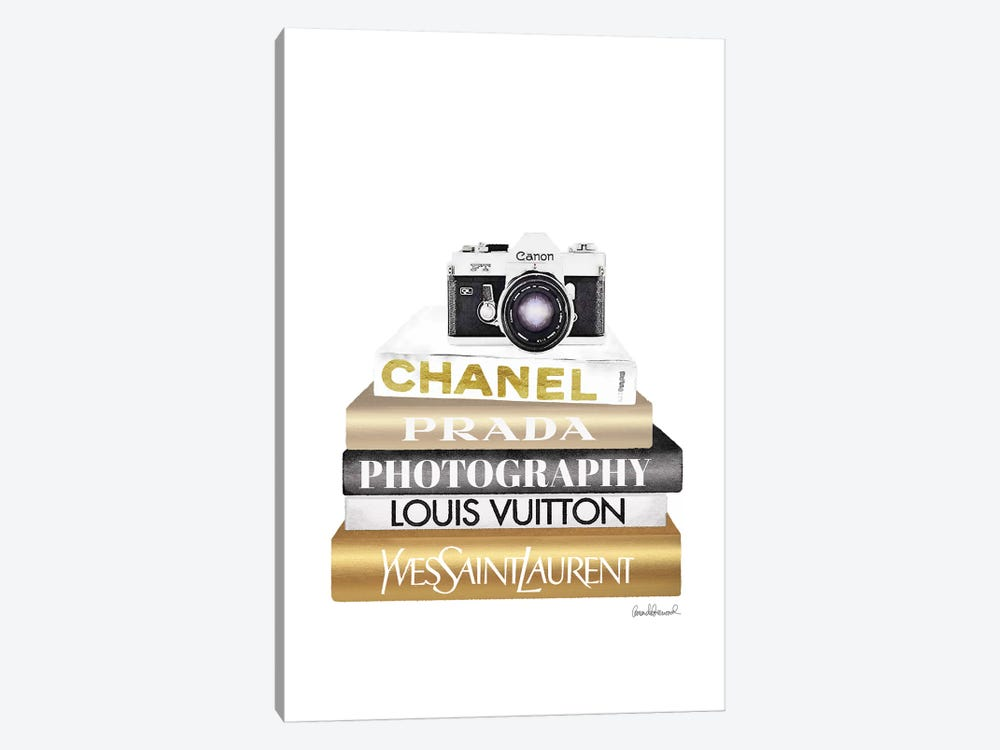 Gold Bookstack With Camera by Amanda Greenwood 1-piece Art Print